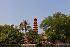 Tran Quoc Pagoda (1639). West Lake, Hanoi, Vietnam Royalty Free Stock Photo