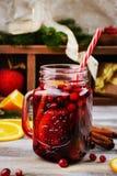 Tranbär och apelsin funderat vin med ingredienser Royaltyfri Fotografi