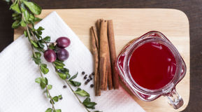 Tranbärfruktsaft med kanel och örter i exponeringsglas på att hugga av boaen royaltyfri foto
