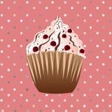 Tranbärmuffin på den rosa bakgrunden Royaltyfri Bild