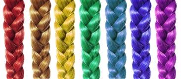 Trance o cabelo, dobras coloridas isoladas no branco Imagem de Stock Royalty Free