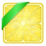 Tranche carrée de Ligne Verte de citron Photographie stock libre de droits