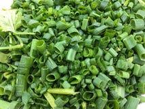 Tranche coupée d'oignon vert Photographie stock