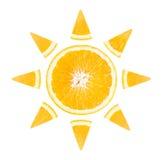 Tranche d'orange sous forme de soleil Photographie stock libre de droits