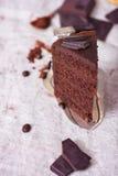 Tranche d'un gâteau de chocolat Photographie stock libre de droits
