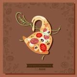 Tranche de caractère de pizza de bande dessinée avec une feuille de basilic à la taille illustration libre de droits