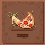 Tranche de caractère de pizza de bande dessinée se trouvant sur le plateau de cuisson chaud illustration stock