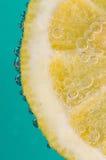Tranche de citron dans la soude photos stock
