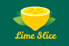 Tranche de fruit de chaux ou de citron Logo de jus de limonade Images libres de droits