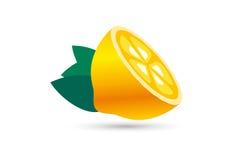 Tranche de fruit de chaux ou de citron Logo de jus de limonade Images stock