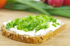 Tranche de pain avec le fromage blanc Photo libre de droits
