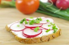 Tranche de pain avec le fromage blanc Image stock