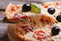 Tranche de pizza avec le salami horizontal. macro. Images libres de droits