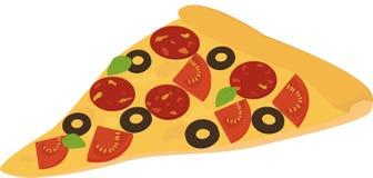 tranche de pizza avec le salami, les pepperoni, la tomate et l'olive Image stock