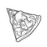 Tranche de pizza Champignons, poulet, poivre, fromage Illustration Images d'isolement sur le fond blanc illustration libre de droits