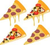 Tranche de pizza de pepperoni originale classique italienne fraîche et de pizza de champignon d'isolement sur le fond blanc illustration de vecteur