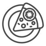 Tranche de pizza sur une ligne icône de plat Illustration de vecteur d'aliments de pr?paration rapide d'isolement sur le blanc Co image libre de droits