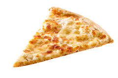 Tranche de plan rapproché de pizza de fromage d'isolement Images libres de droits