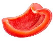 Tranche de poivron rouge d'isolement sur un fond blanc photos stock