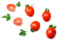 tranche de tomate avec le persil d'isolement sur le fond blanc Vue supérieure photo libre de droits