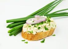 Tranche fraîche de pain de baguette enduite du fromage fondu de cottage avec différents oignons Images stock