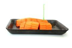 Tranche fraîche de papaye avec d'isolement Photographie stock