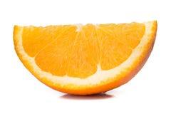 Tranche orange fraîche d'isolement sur le blanc image stock