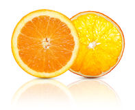 Tranche orange sèche et fraîche de fruit Photographie stock libre de droits