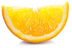 Tranche orange sur un blanc. photos stock