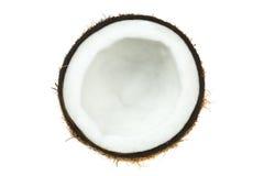 Tranche ronde de noix de coco sèche d'isolement sur le blanc Photographie stock