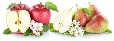 Tranche rouge de fruits de poires de pommes d'Apple et de poire d'isolement Photo stock