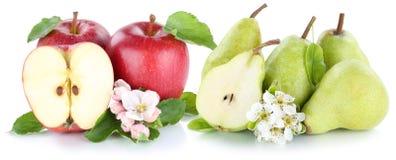 Tranche verte rouge de fruits de poires de pommes d'Apple et de poire d'isolement Image stock