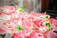 Tranches coupées de jambon Image stock