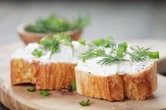 Tranches croquantes de baguette avec le fromage fondu et Photos libres de droits