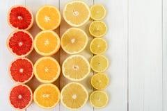 Tranches d'agrumes d'orange, de pamplemousse, de citron et de chaux Photos stock