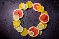 Tranches d'agrumes de citron, orange, pamplemousse dans la forme de cercle sur le fond foncé Photos stock