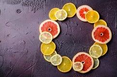 Tranches d'agrumes de citron, orange, pamplemousse dans la forme de cercle sur le fond foncé Images stock