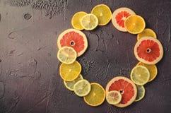 Tranches d'agrumes de citron, orange, pamplemousse dans la forme de cercle sur le fond foncé Photographie stock libre de droits