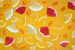 Tranches d'agrumes sur le fond jaune lumineux photographie stock