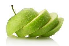 Tranches d'Apple sur le fond blanc Photos stock