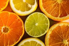 Tranches d'oranges, de citrons, de chaux et de mandarines Image stock