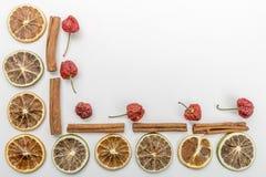 tranches d'oranges sèches, de fraise sèche et de cannelle sur un fond blanc image libre de droits