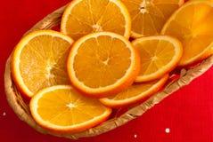 Tranches d'une orange dans un panier Photographie stock libre de droits