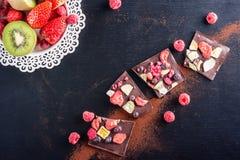Tranches de chocolat sucré avec les fruits, la poudre de cacao et le fruit du plat de blanc en métal dessert doux sur le fond noi Photo stock