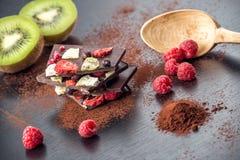 Tranches de chocolat sucré avec des fruits avec la poudre et le fruit de cacao du plat de blanc en métal dessert doux sur le back Photographie stock libre de droits