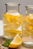 Tranches de citron et de chaux dans des pots Images libres de droits