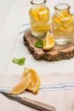 Tranches de citron et de chaux dans des pots Image libre de droits