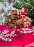 Tranches de fondant de chocolat de Noël Images libres de droits