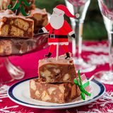 Tranches de fondant de chocolat de Noël Photographie stock libre de droits