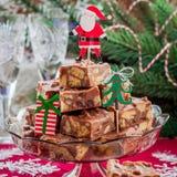 Tranches de fondant de chocolat de Noël Photos stock